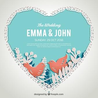 Plantilla de invitación de boda plana con pájaros