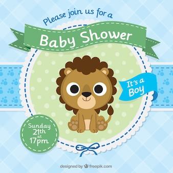 Plantilla de invitación de fiesta de bienvenida al bebé con un león bonito