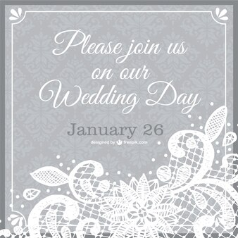 Plantilla de invitación de la boda con adornos vintage