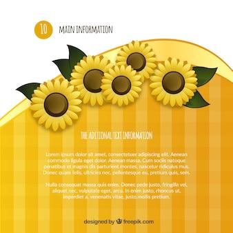 Plantilla de la información principal con flores