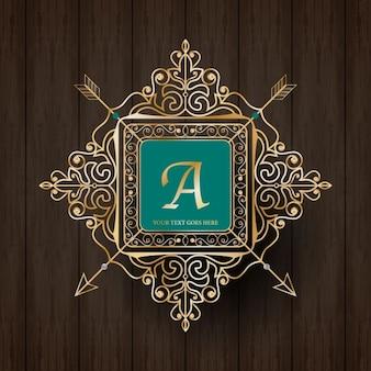 Plantilla de la insignia dorada del monograma de lujo