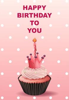 Plantilla de la tarjeta de feliz cumpleaños con la magdalena rosada