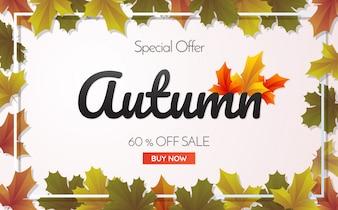 Plantilla de la venta de otoño de banner Vector de fondo para banner, cartel, volante