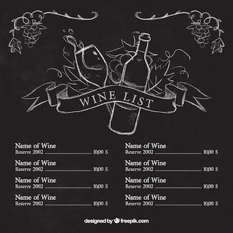 Plantilla de lista de vino con bocetos en pizarra