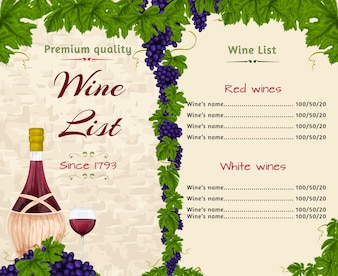 Plantilla de lista de vinos