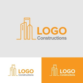 Plantilla de logo de construcción amarillo