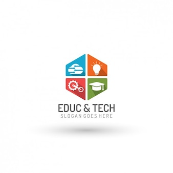 Plantilla de logo de educación y tecnología