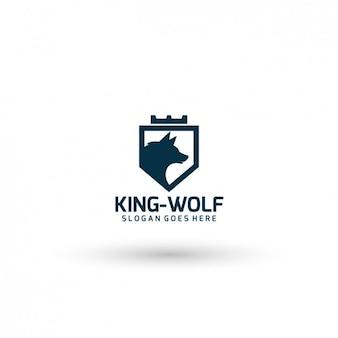 Plantilla de logo de rey lobo