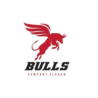 Plantilla de logo de un toro con alas