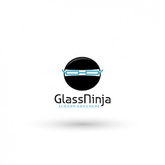 Plantilla de logo ninja con gafas