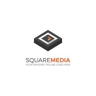 Plantilla de logotipo cuadrado de medios