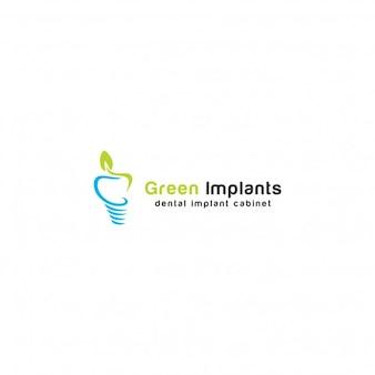 Plantilla de logotipo de implantes verdes