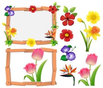 Plantilla de marco con diferentes tipos de flores