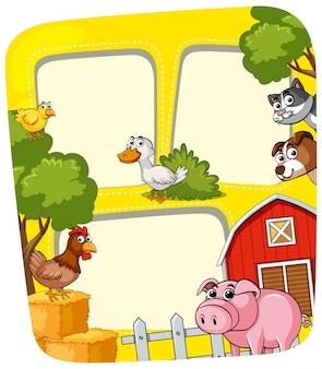Plantilla de marco con los animales en la granja