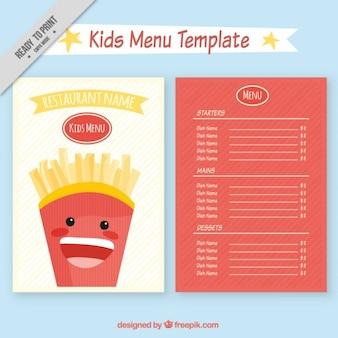 Plantilla de menú de restaurante de niños