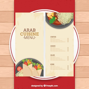 Plantilla de menú árabe en un plato