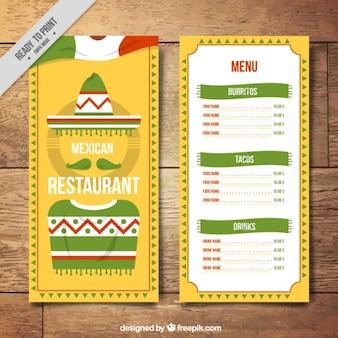 Plantilla de menú amarilla con bandera mejicana