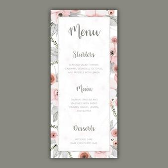 Plantilla de menú de boda con flores de color pastel