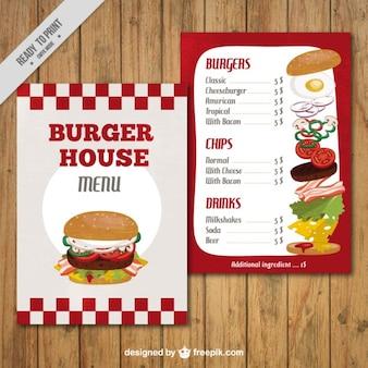Plantilla de menú de casa de la hamburguesa