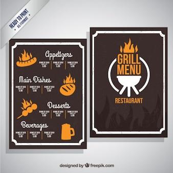 Plantilla de menú de grill