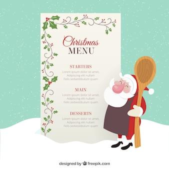 Plantilla de menú de navidad con decoración de muérdago