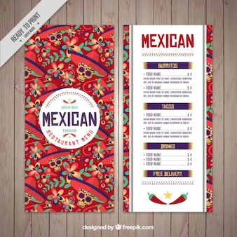 Plantilla de menú mexicano de calaveras