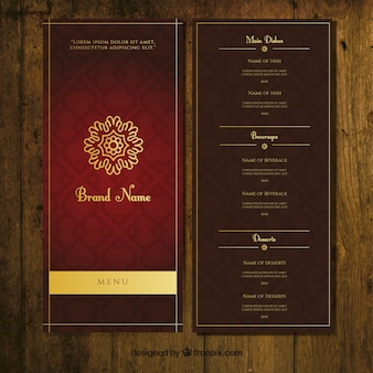 plantilla de menú ornamental oscuro con adornos de oro