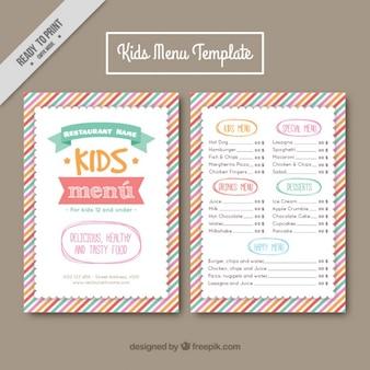 Plantilla de menú para niños con líneas de colores