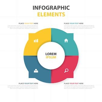 Plantilla de negocios infográfica colorida circular