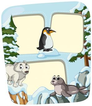 Plantilla de papel con los animales en invierno