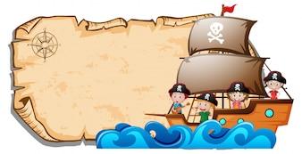 Plantilla de papel con los niños en el barco pirata