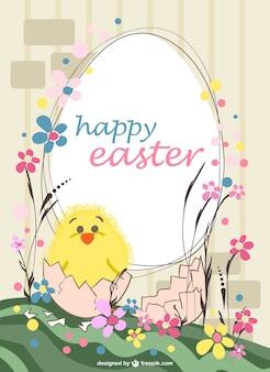 Plantilla de Pascua con pollito