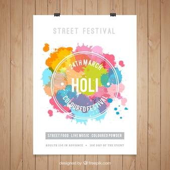 Plantilla de póster de Festival Holi
