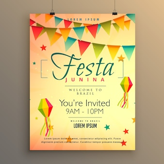 Plantilla de póster para festa junina con guirnaldas