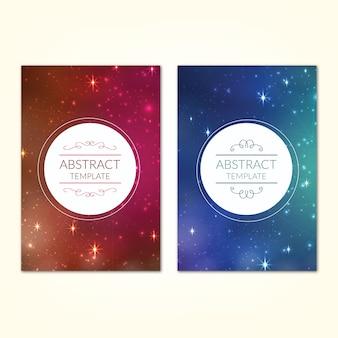 Plantilla de pósters con el universo estrellado cielo de fondo