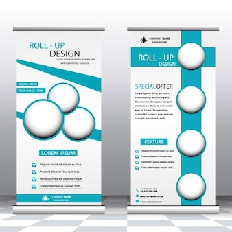 Plantilla de roll up turquesa
