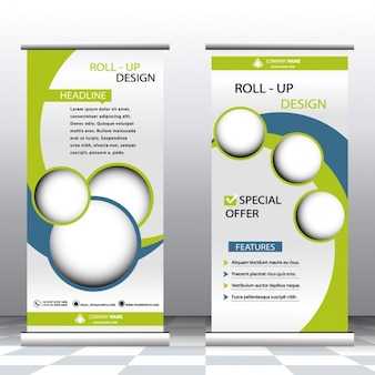 Plantilla de roll up verde y azul