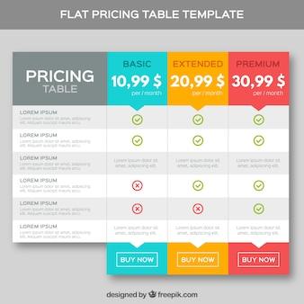 Plantilla de tablas de precios en diseño plano