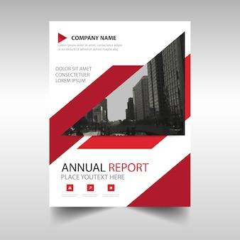 Plantilla de tapa de libro rojo de reporte anual
