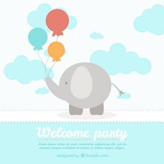 Plantilla de tarjeta de bienvenida del bebé con un elefante lindo