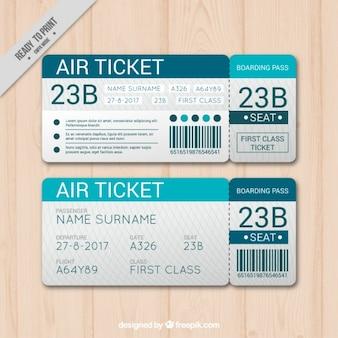 Plantilla de tarjeta de embarque azul en diseño plano