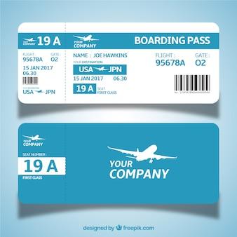Plantilla de tarjeta de embarque azul y blanca en diseño plano