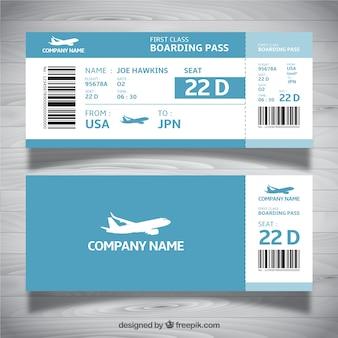 Plantilla de tarjeta de embarque en tonos azules