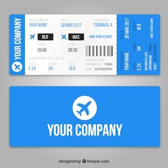 Plantilla de tarjeta de embarque realista con aviones azules
