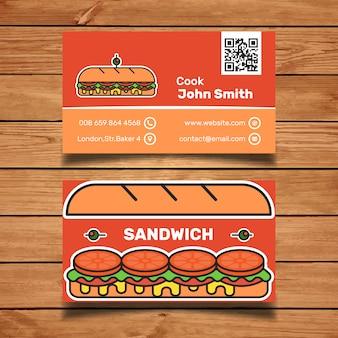 Plantilla de tarjeta de visita con sandwich