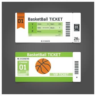 Plantilla de ticket para partido de baloncesto
