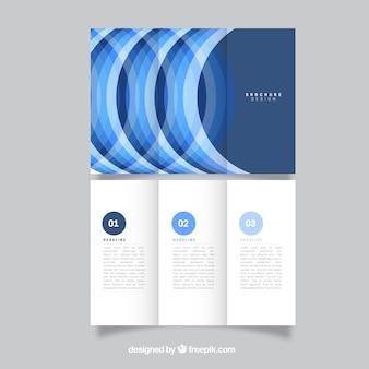 Plantilla de tríptico azul semicircular