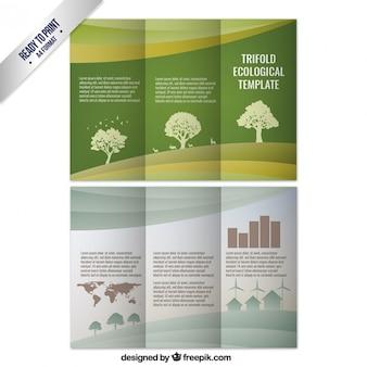 Plantilla de tríptico ecológico con árboles
