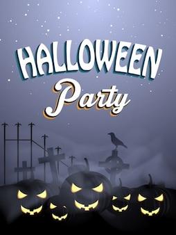 Plantilla de volante de Halloween con espeluznantes pumkins