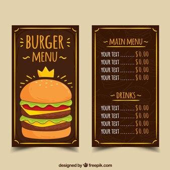 Plantilla dibujada a mano de menú de hamburguesa